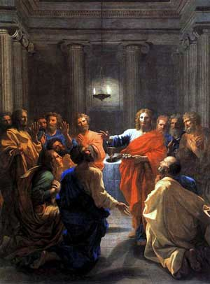 painting by nicholas poussin of jesus and the disciples at the last supper